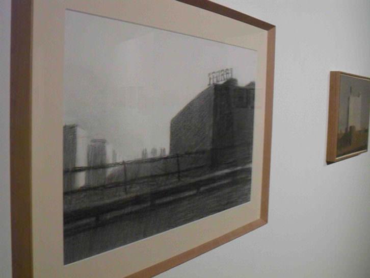Obras de Marcelo Fuentes en su exposición 'Notas urbanas' en el Centro del Carmen.