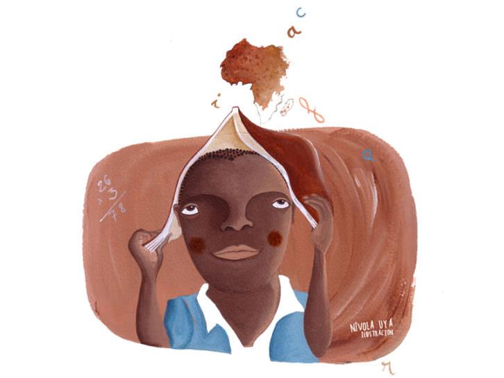 Ilustración de Nívola Uyá para el libro 'Mariama, diferente pero igual', de Jerónimo Cornelles y la propia Uyá. Imagen cortesía de los autores.