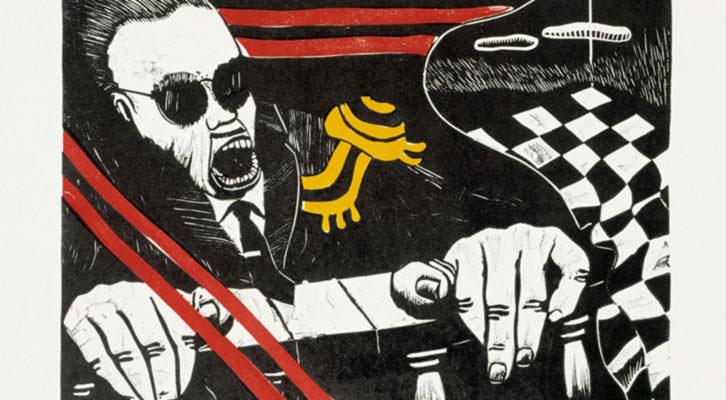 El dictador, obra de Rafael Calduch, en la exposición 'Colectivos artísticos en Valencia bajo el franquismo 1964-1976'. Imagen cortesía del IVAM.
