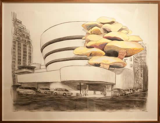 Daniel Silvo. Guggenheim, Conté y témpera sobre papel Hahnemühle. 79 x 107 cm. 2012. Cortesía del artista.