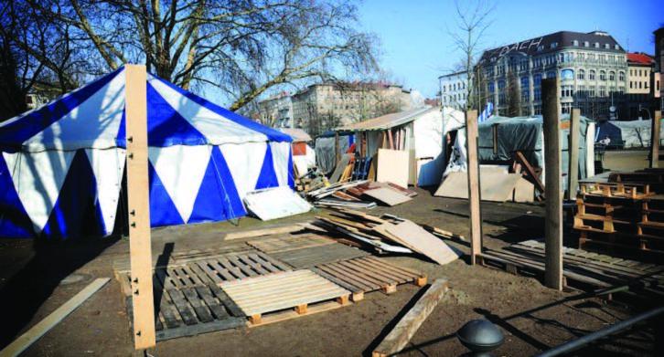 Tiendas de protesta. Cortesia We Will Rise - Refugee Movement