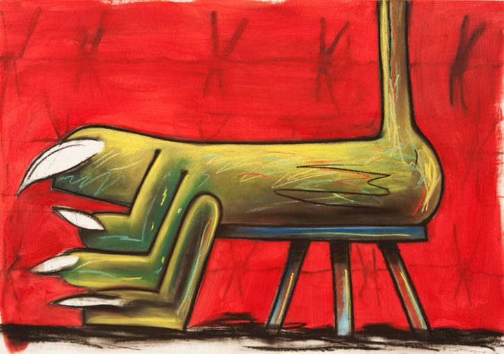 Gorka Mohamed. Sick Feet Taburete , 2015. Pastel y Carboncillo. 59,5x84 cm. Cortesía del artista.