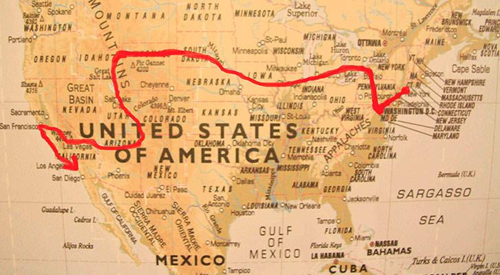 Mapa del viaje de Proyecto USA, de Miguel Herrero. Cortesía del autor.