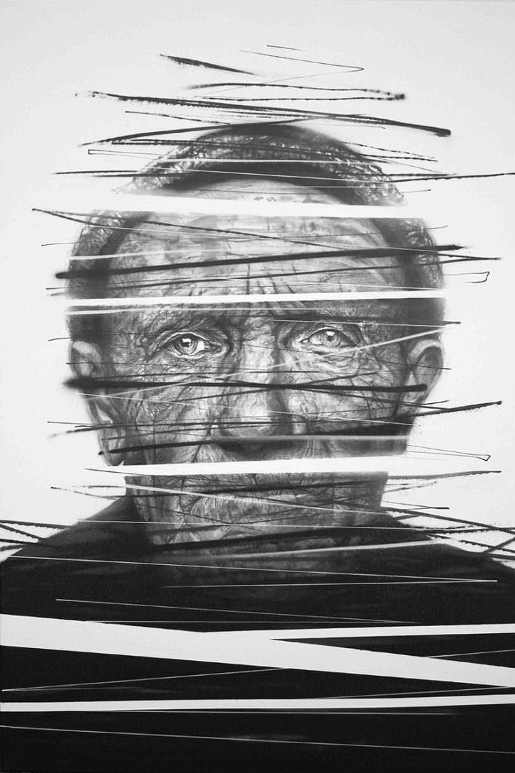 El viejo, de Hunter, en la exposición La otra mirada del Club Náutico de Villajoyosa. Cortesía del autor.