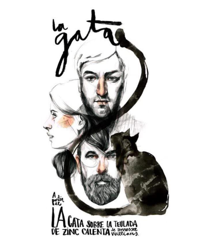 Cartel de La Gata, realizado por Paula Bonet, versión de Juli Disla bajo dirección de Sergio Caballero, en Teatres de la Generalitat Valenciana.