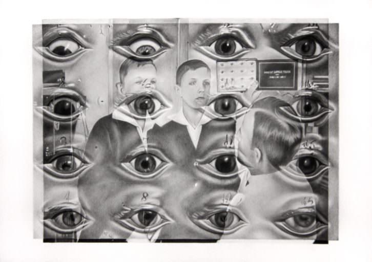 Ernesto Casero. Ottmar Von Verschuer's eyes, 2015. Lápiz compuesto sobre papel, 70x100 cm. Cortesía Galería pazYcomedias.