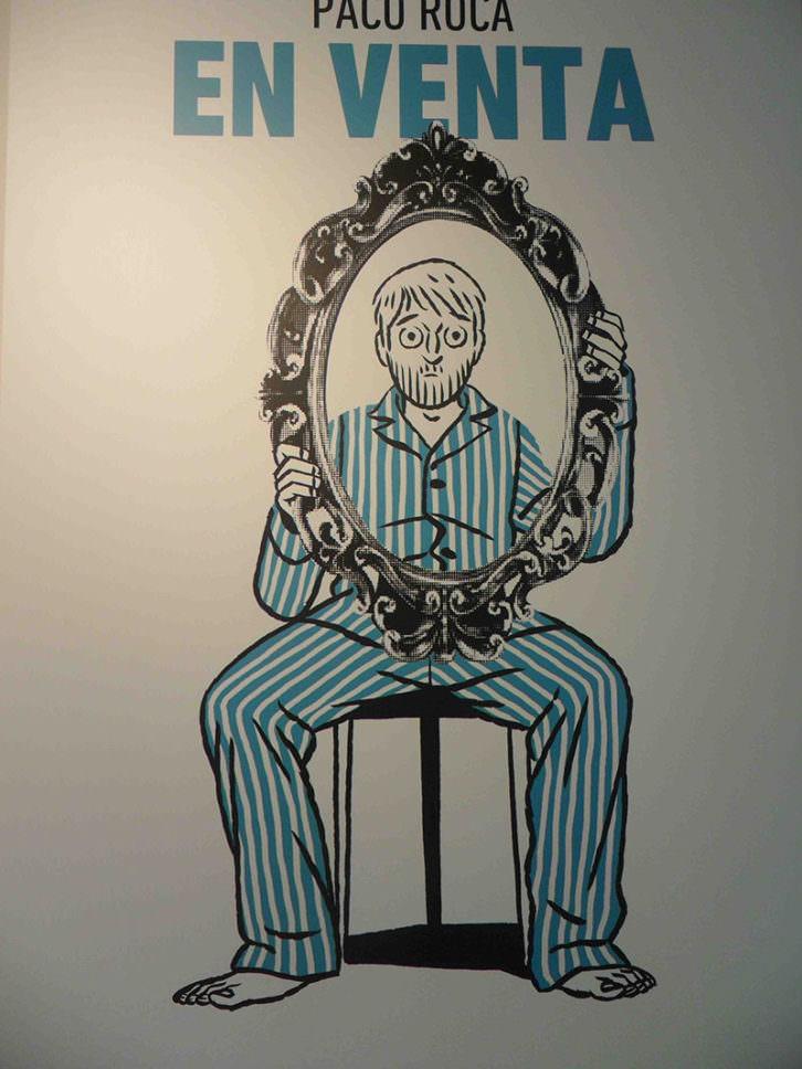 Cartel de la exposición 'Paco Roca. En Venta', con la que se inaugura la galería Pepita Lumier.