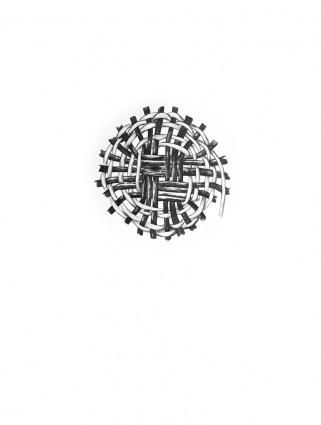 """Dibujos """"Cestas"""", 2015. Grafito y acuarela sobre cartulina. Mosaico de 9 dibujos. 41X31 cm/obra. Cortesía de la artista."""