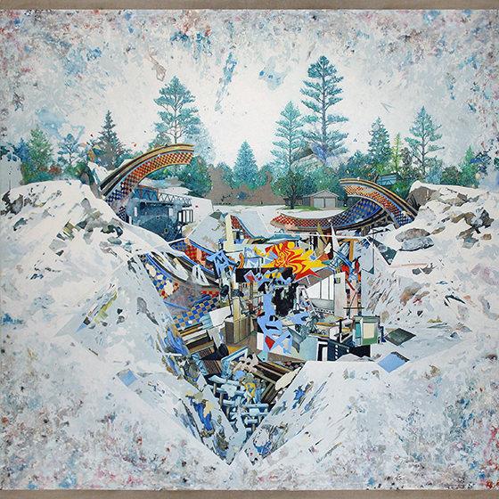 Santiago Giralda. THE BRIDGE, óleo sobre lino, 195 x 195 cm, 2012. Cortesía del artista.