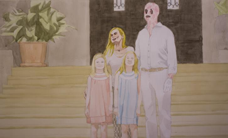 Toni Signes. Papà i mamà amb les filles, 2015. Acuarela sobre papel, 94x150 cm. Cortesía del artista.