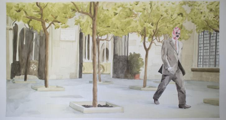 Toni Signes. Caminar és un plaer, 2014. Acuarela sobre papel, 81x150 cm. Cortesía del artista.