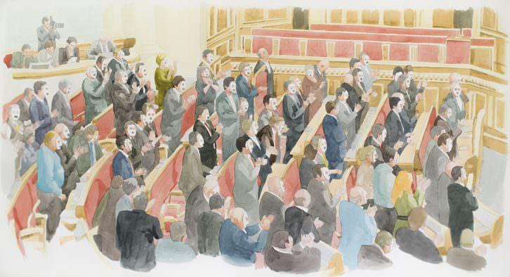 Toni Signes. Gran moment de celebració, 2015. Acuarela sobre papel, 83x150 cm. Cortesía del artista.