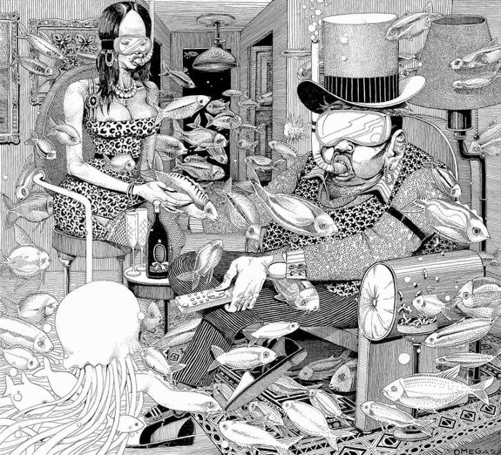 Economía sumergida, de la serie Las páginas salmón, de Omega TBS. Kir Royal Gallery.