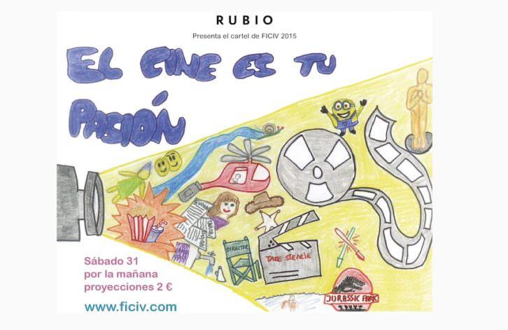 Cartel del I Festival Internacional de Cine Infantil de Valencia, presentado por Cuadernos Rubio.