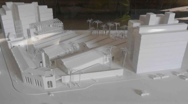 Maqueta del futuro centro cultural en la antigua fábrica de Bombas Gens.