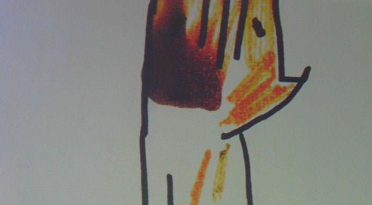 La mascota Cobi, de Javier Mariscal, proyectada en Espai Rambleta en un momento de la conversación de 'Sabios en Rambleta'.