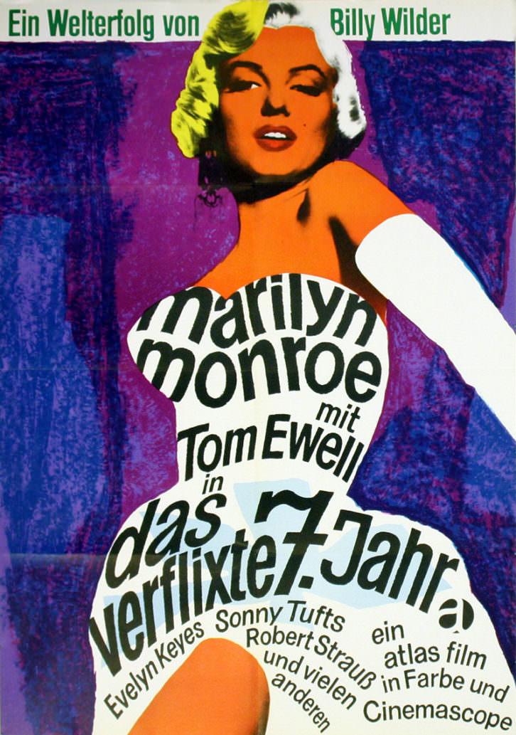 Cartel de Marilyn de la película La tentación vive arriba en la exposición Mensajes desde la pared. Cortesía del Museo de Bellas Artes de Bilbao.