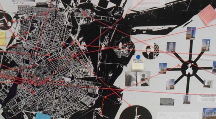Detalle del mapa de Valencia en la exposición Radical Geographics, de Rogelio López Cuenca en la Galería 6 del IVAM.