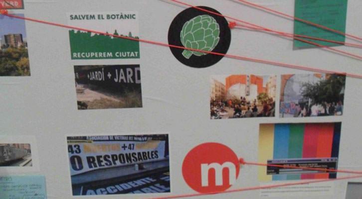 Detalle del mapa de Valencia en la exposición Radical Geographics, de Rogelio López Cuenca, en el IVAM.