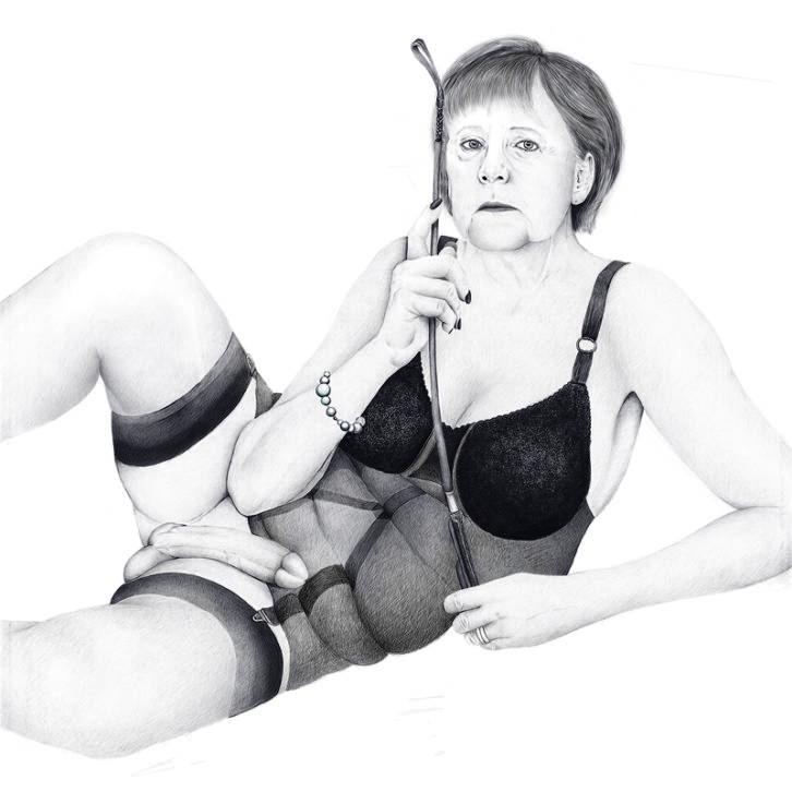 Angela Merkel, caracterizada