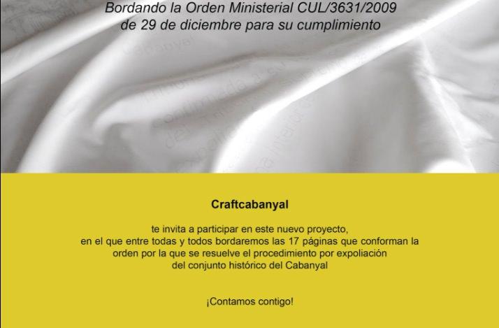 Cartel en el que se anuncia la invitación de CraftCabanyal para el bordado de la orden ministerial.