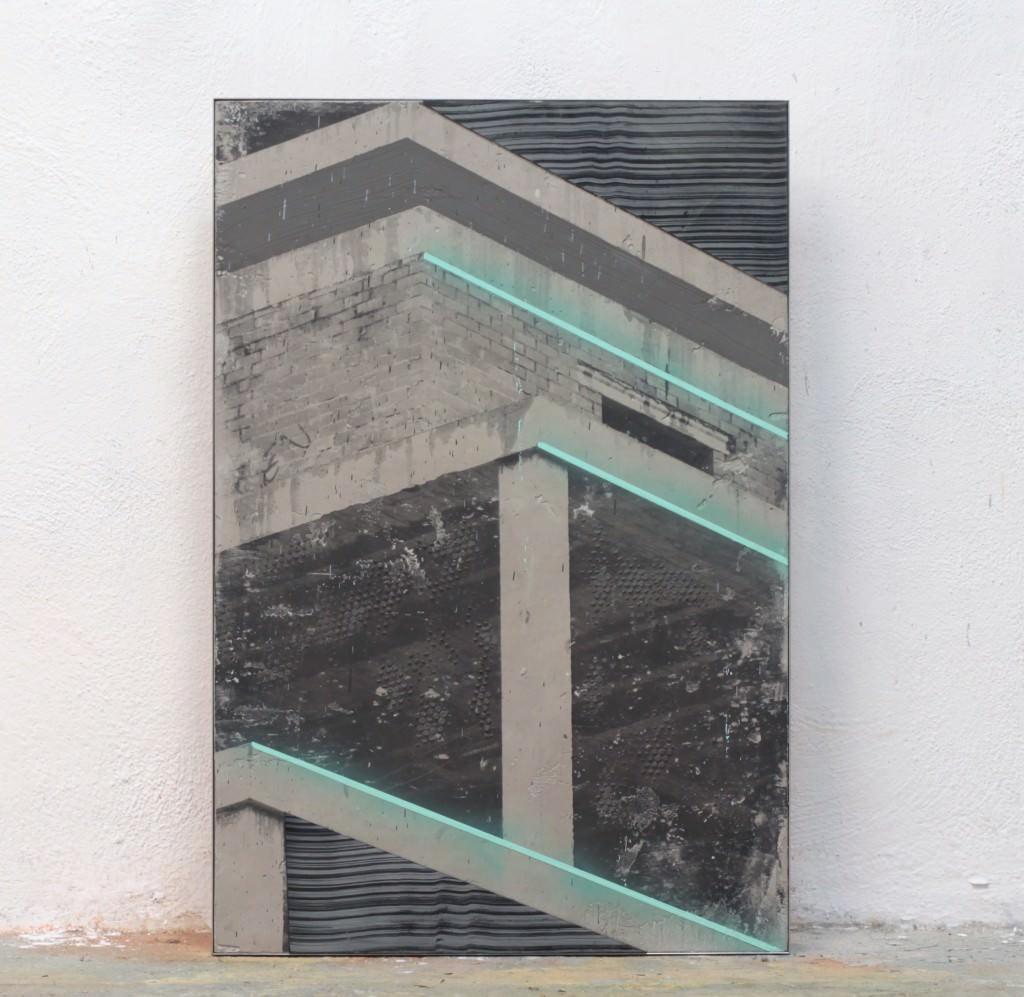 Blue Flow-2015. Cemento, fotografía, metacrilato y acrílico. 80x54. Keke Vilabelda