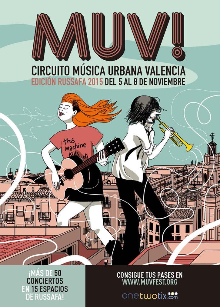Cartel del MUV Circuito Música Urbana Valencia. Cortesía de Sala Russafa.