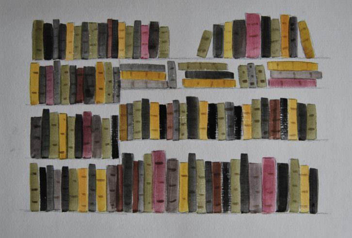 """Cristina Guzmán Traver. """"Llibres"""", gouache sobre papel, 2015. Cortesía de la artista."""