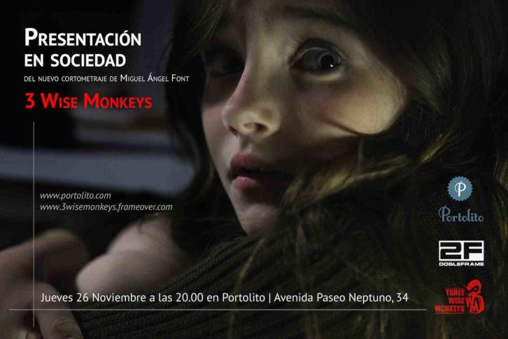 Tarjeta de presentación del cortometraje '3 Wise Monkeys', de Miguel Ángel Font Bisier.