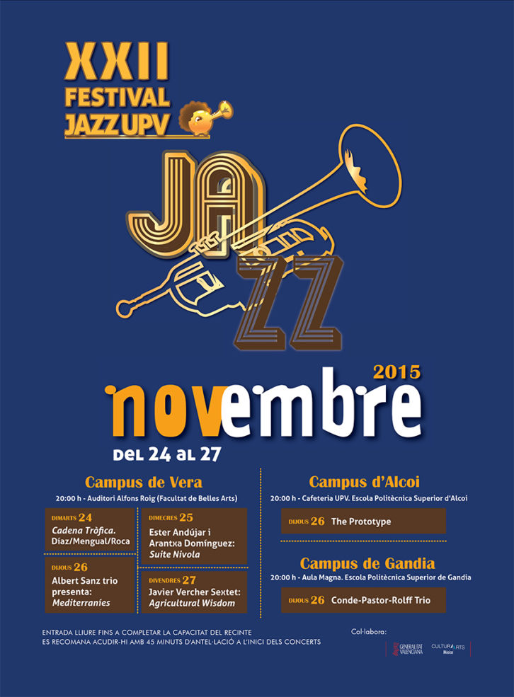 Cartel del Festival de Jazz UPV. Novembre 2015