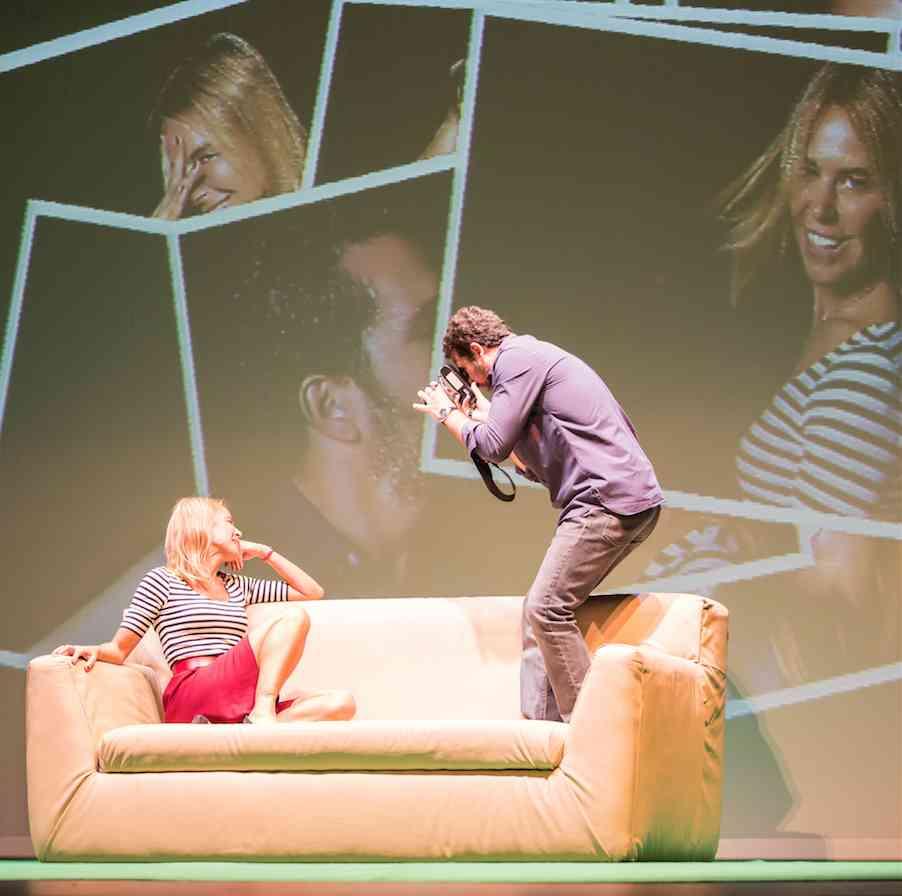 Blanca Oteyza y Mariano Rochman en 'Pieza inconclusa'. Imagen cortesía de Teatro Talía.