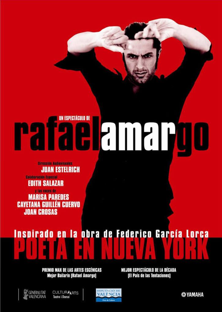 Cartel de la obra Poeta en Nueva York, de Rafael Amargo. Teatro Principal de Valencia.
