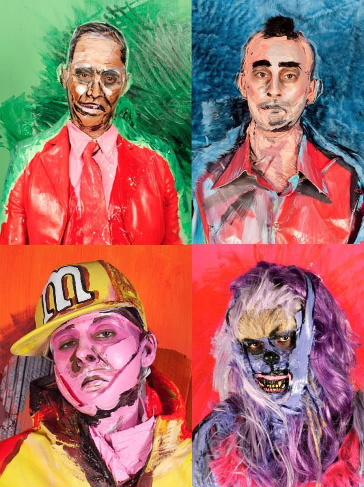 Imagen de cuatro de sus Cirugías: John Waters, Travis Bickle, Eminem y Chewbacca. Fotografía cortesía de la artista.