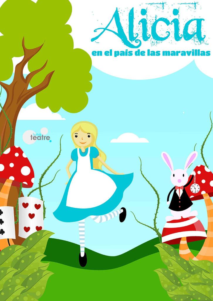 Cartel de Alicia en el País de las Maravillas, de Luna Teatre. Imagen cortesía de Sala Carolina.