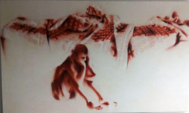 """Imagen de portada, detalle de """"Comí Jabalí"""", de Carlos Domingo. Acrílico sobre lienzo, 120 x 200 cm. Imagen archivo Galería Valle Ortí."""