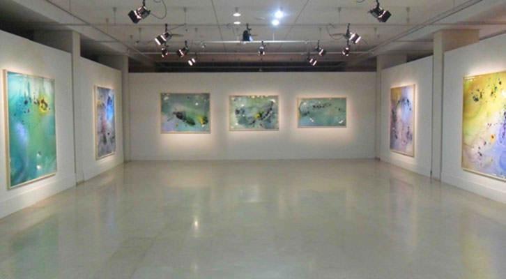 Vista general de la exposición de Cristina Gamón en el Palau de la Música.