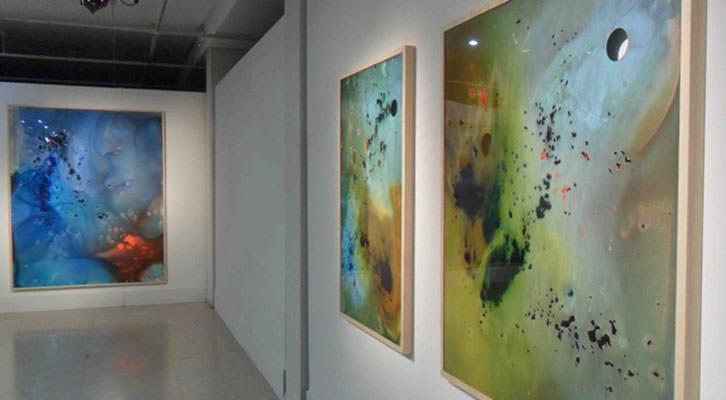 Obras de Cristina Gamón en la que será la última exposición en la sala del Palau de la Música.
