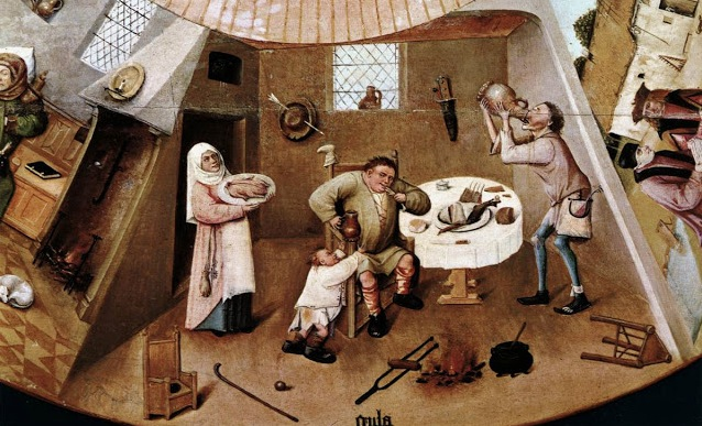Detalle de La mesa de los siete pecados capitales de El Bosco. Proyecto 3CMCV del Consorcio de Museos.