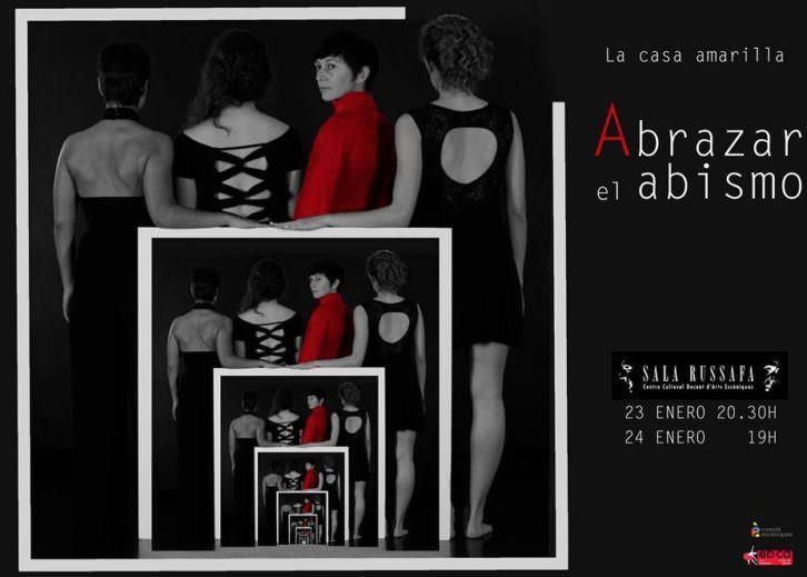 Cartel del espectáculo 'Abrazar el abismo', de La Casa Amarilla. Sala Russafa.