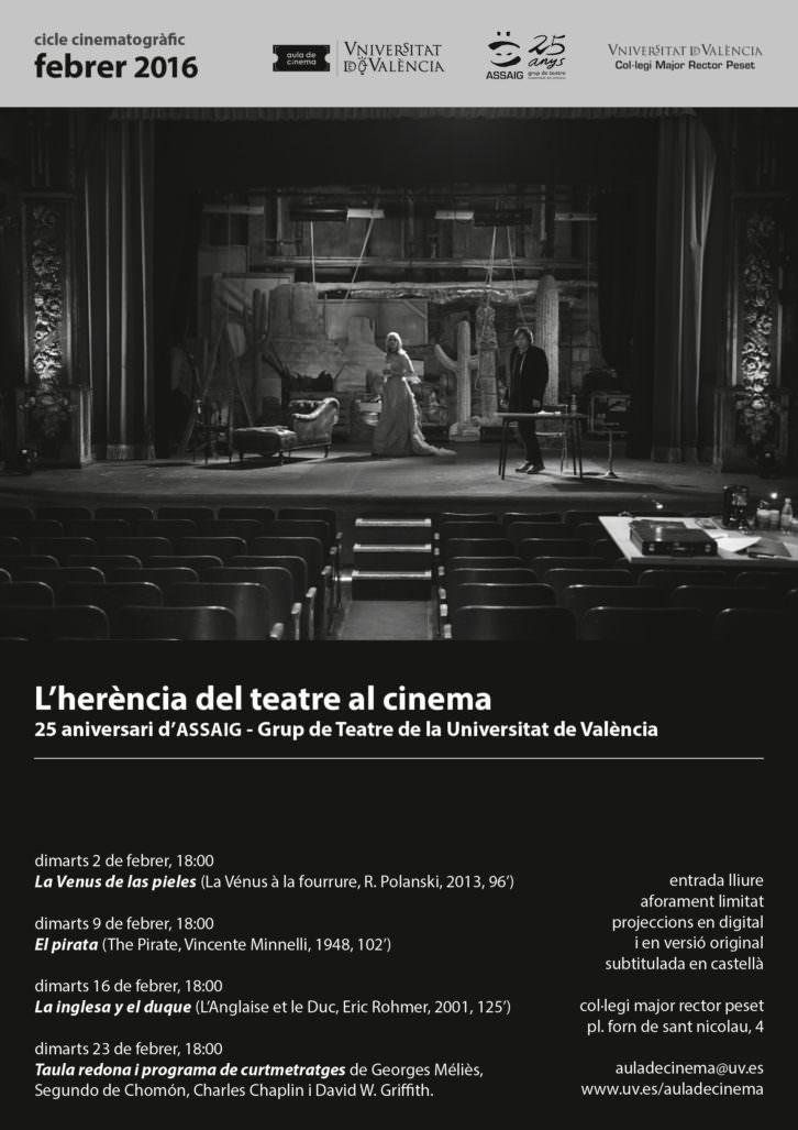 Cartel del ciclo 'La herencia del teatro en el cine'. Imagen cortesía de los organizadores.