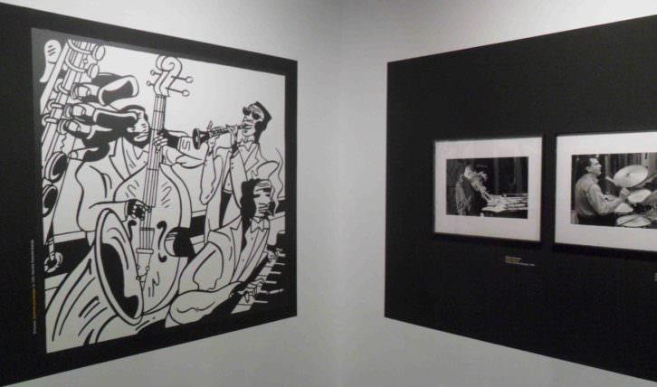 Ilustración y fotografías de la exposición 'Valencia Jazz' en el Centro Cultural Bancaja.