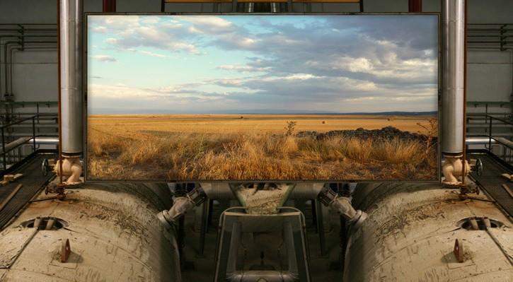 Jesús Rivera, Landscape Factory. Hacia la ciencia Ficción, 07. 2016  Impresión de tintas pigmentadas sobre papel algodón Hahnemühle  87 x 180 cm.Cortesía del artista.