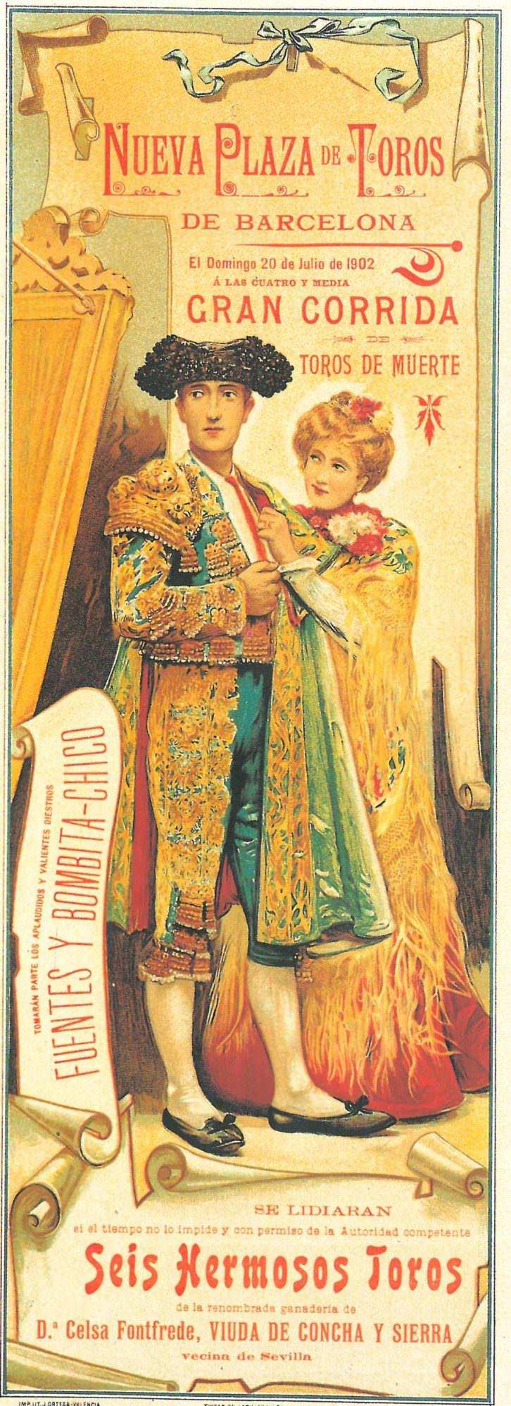 """Cartel de Cecilio Plá anunciando la """"gran corrida de toros de muerte"""" en la nueva plaza de toros de Barcelona (1902). Imagen cortesía de la biblioteca del Museo Taurino de Valencia."""