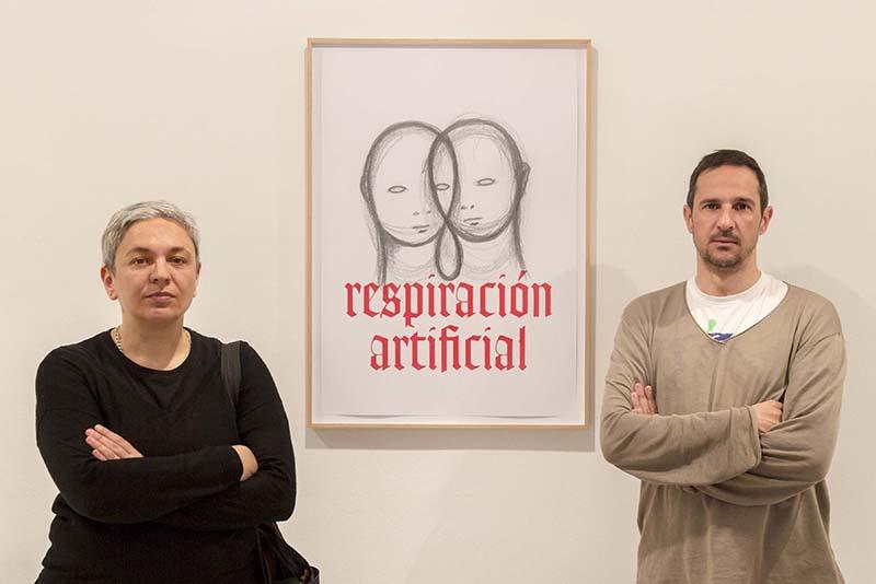 Dora García y Peio Aguirre en la presentación en el IVAM.