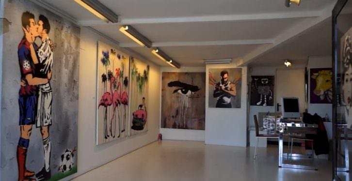 Vista general de la exposición GraffitiPop, de Antonio de Felipe, en la Galería Thema. Imagen de Carles Traver y Josevi Marco.