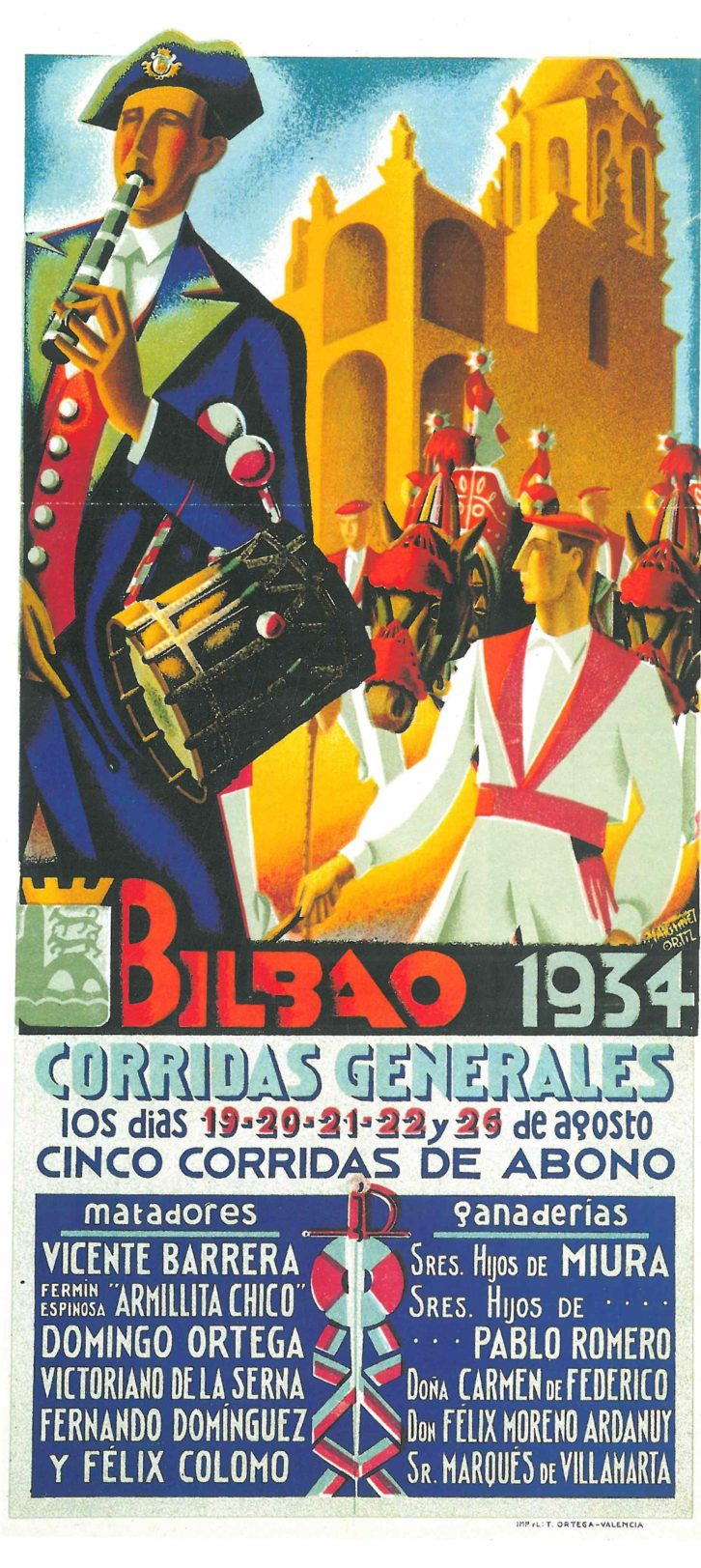 """Cartel de Martínez Ortiz para las """"Corridas Generales de Bilbao"""" de 1934. Imagen cortesía de la biblioteca del Museo Taurino de Valencia."""