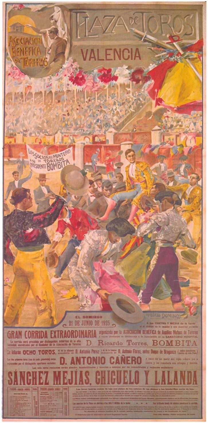 """Cartel de Roberto Domingo anunciando la """"Gran corrida extraordinaria"""" en estío valenciano de 1925. Imagen cortesía de la biblioteca del Museo Taurino de Valencia."""
