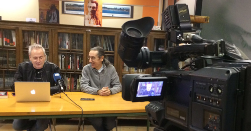 Ángel de la Calle y Jose Luis Paraja, directores de la Semana Negra de Gijón, durante un instante de la rueda de prensa. Fotografía cortesía de los organizadores.