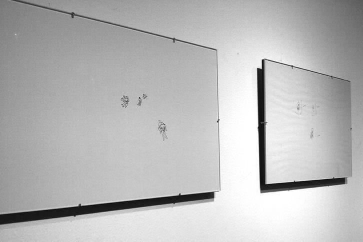 Algunos de los dibujos expuestos. Fotografía: María Ramis.