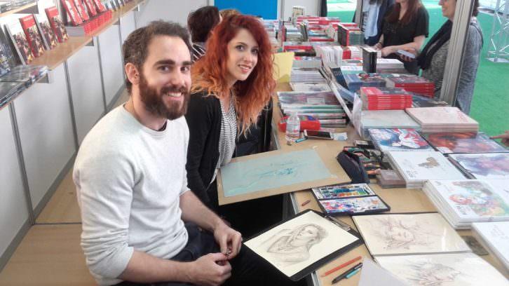 Jorge Monreal y Marta Nael, ilustradores de Ediciones Babylon. Fotografía: Jose Ramón Alarcón.